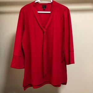 Worthington red tie neck blouse